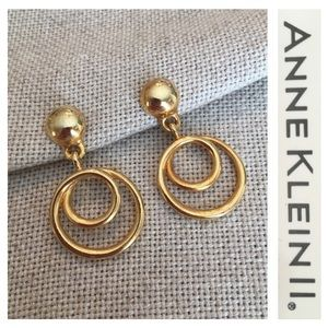 VTG Anne Klein II Goldtone Post Dangle Earrings